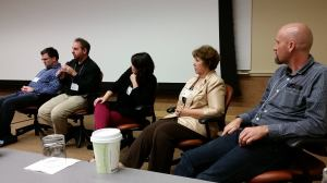 Brad Herman & Jonathan Nori, Christine Whitaker, Gloria O'Donnell, & Dwight Kopp (L to R)